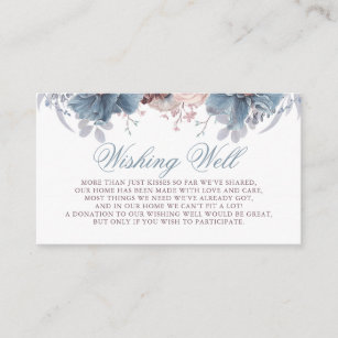Dusty Blue and Mauve Wishing Well Enclosure Card