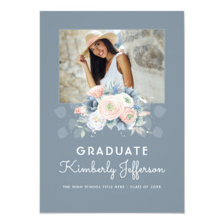 Dusty Blue and Peach Rose Floral Photo Graduation Card