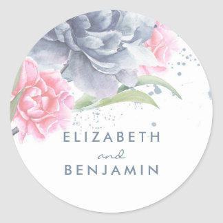 Dusty Blue and Pink Floral Watercolors Classic Round Sticker