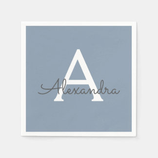 Dusty Blue and White Name and Initial Monogram Paper Napkins
