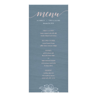 Dusty Blue & Blush Flowers Wedding Menu - Dark