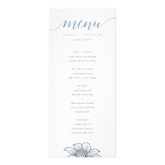 Dusty Blue & Blush Flowers Wedding Menu - Light