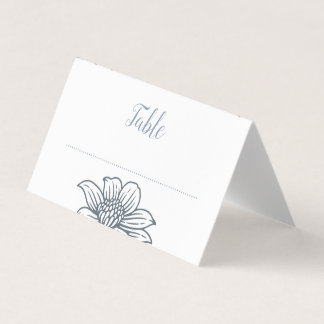 Dusty Blue & Blush Flowers Wedding Place Cards