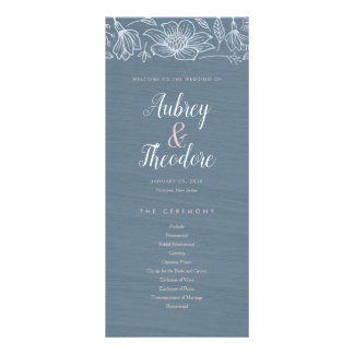 Dusty Blue & Blush Flowers Wedding Program - Dark