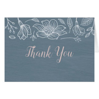 Dusty Blue & Blush Flowers Wedding Thank You Cards