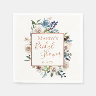 Dusty Blue Cream Floral Personalized Paper Napkin
