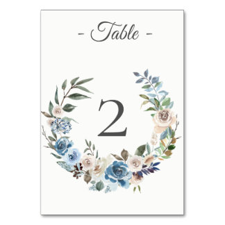 Dusty Blue Cream Floral Wreath Table Number Card