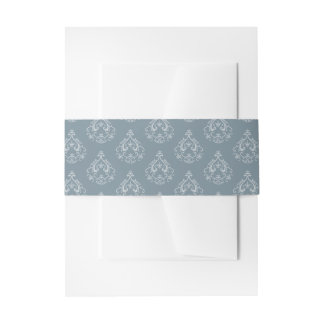 Dusty Blue Damask Invitation Belly Bands Invitation Belly Band