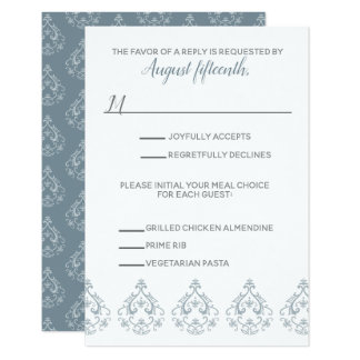 Dusty Blue Damask RSVP card with meal selection