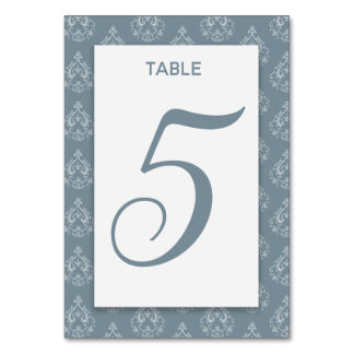 Dusty Blue Damask Table Card