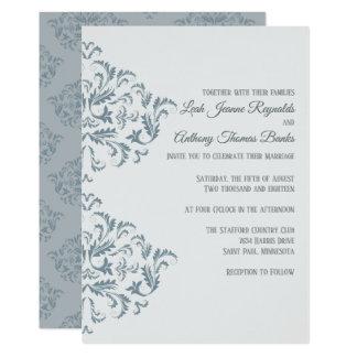 Dusty Blue Elegant Damask Invitation