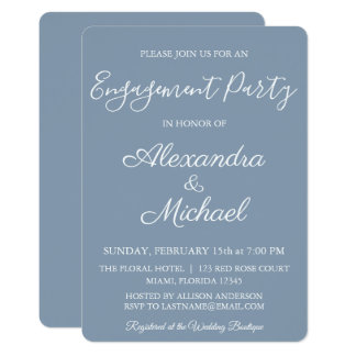 Dusty Blue Engagement Party Invitation