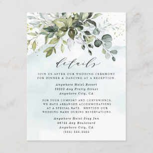 Dusty Blue Eucalyptus Greenery Succulent Wedding Enclosure Card