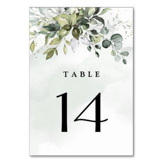 Dusty Blue Eucalyptus Greenery Succulent Wedding Table Number