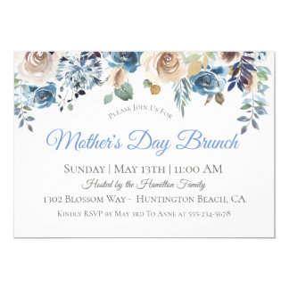 Dusty Blue Floral Mother's Day Brunch Invitation