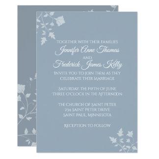 Dusty Blue Floral Wedding Invitation