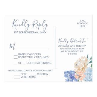 Dusty Blue Florals Menu Choice RSVP Postcard