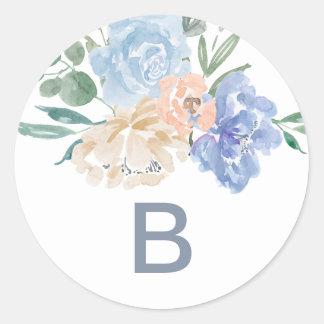Dusty Blue Florals Monogram Wedding Envelope Seals