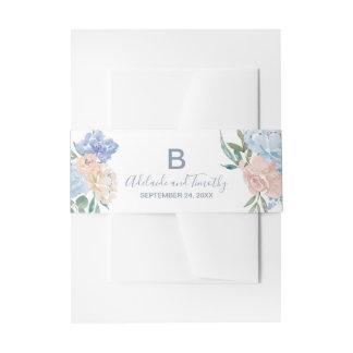 Dusty Blue Florals Monogram Wedding Invitation Belly Band