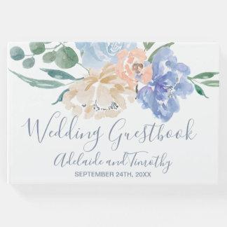 Dusty Blue Florals Wedding Guest Book