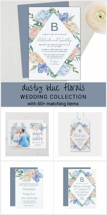 Dusty Blue Florals Wedding Invitation Collection