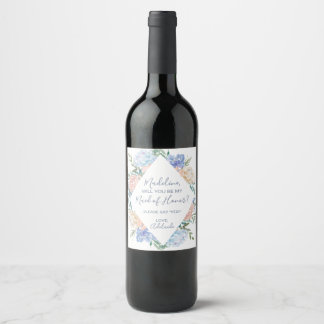 Dusty Blue Florals Will You Be My Bridesmaid Wine Label