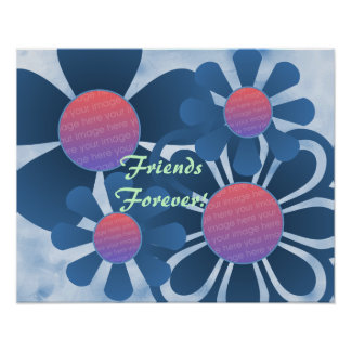 Dusty Blue Flowers Photo Frame Print