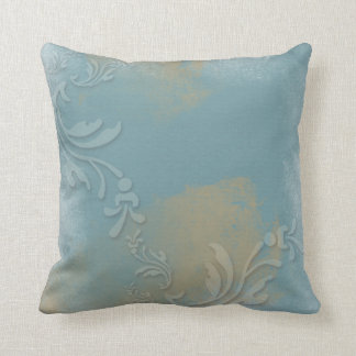 Dusty Blue, Gold, Stamped | Throw Pillow