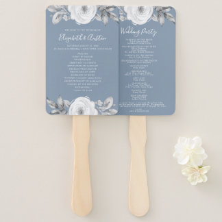 Dusty Blue Gray Floral Diamond Wedding Program Hand Fan