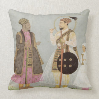 Dusty Blue, Gray & Pink Mughal Throw Pillow