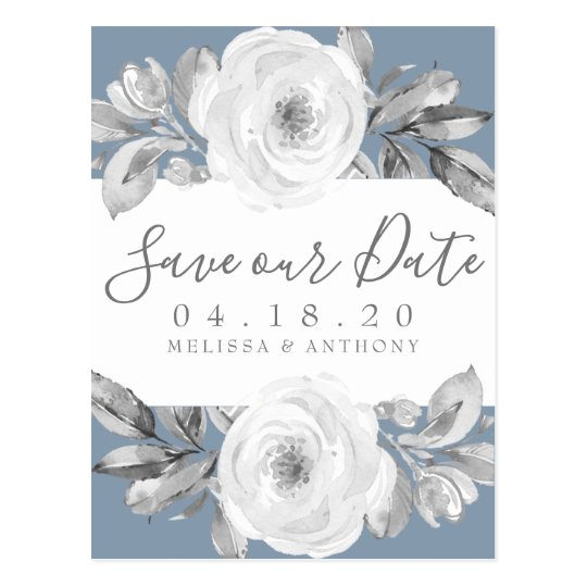 Dusty Blue Grey Floral Diamond Save the Date Postcard