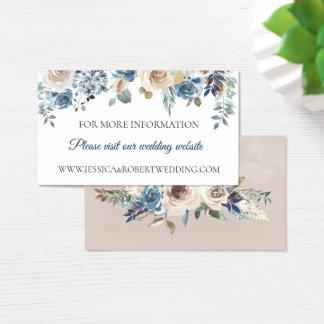 Dusty Blue Neutral Floral Wedding Details Card