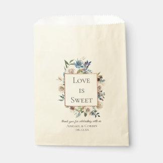 Dusty Blue Neutral Floral Wedding Favour Bag