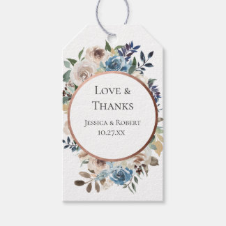 Dusty Blue Neutral Floral Wedding Favour Thank You Gift Tags