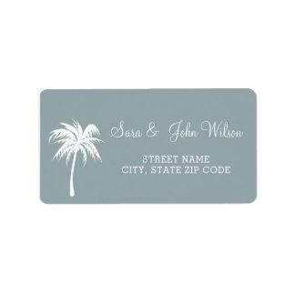 Dusty Blue  Palm Tree Wedding address labels