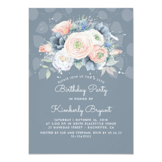 Dusty Blue Peach and Rose Floral Birthday Party Card