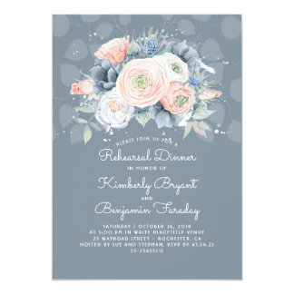 Dusty Blue Peach and Rose Floral Rehearsal Dinner Card