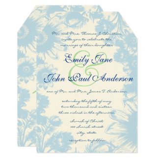 Dusty Blue & Pistachio Green Wedding Invitation