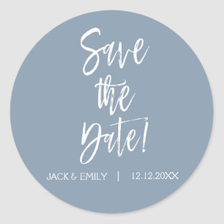 Dusty Blue Save the Date Sticker