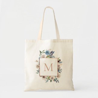 Dusty Blue Taupe Floral Monogram Tote Bag