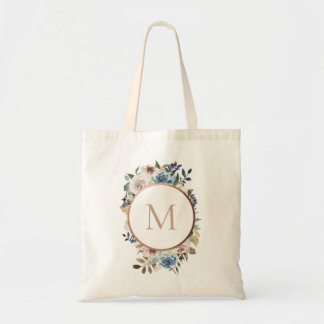 Dusty Blue Taupe Floral Round Monogram Tote Bag