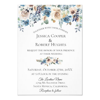 Dusty Blue Taupe Floral Wedding Invitation