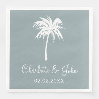 Dusty Blue Tropical Palm Tree Wedding Napkins Disposable Napkins