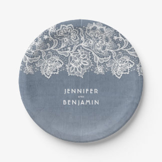 Dusty Blue Vintage Lace Wedding Paper Plate