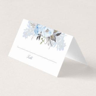 Dusty Blue Watercolor Flowers Elegant Romantic Place Card