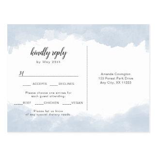 Dusty blue wedding rsvp with entree choice postcard