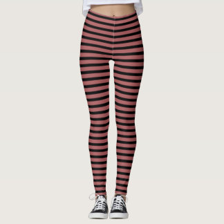 Dusty Cedar and Black Stripes Leggings