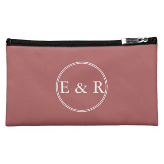 Dusty Cedar Brown with White Wedding Detail Cosmetics Bags