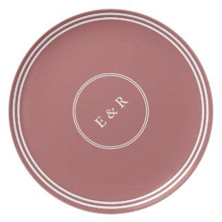 Dusty Cedar Brown with White Wedding Detail Dinner Plate