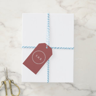 Dusty Cedar Brown with White Wedding Detail Pack Of Gift Tags